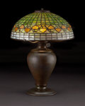 "Decorative Arts, American:Lamps & Lighting, TIFFANY STUDIOS. An ""Acorn"" Leaded Glass and Bronze Table Lamp, circa 1910. Shade stamped: TIFFANY STUDIOS NEW YORK. 23 ..."