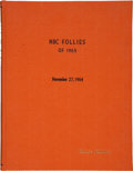 Movie/TV Memorabilia:Memorabilia, George Schlatter's NBC Follies of 1965 Script....