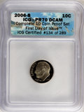 Proof Roosevelt Dimes, 2006-S 10C First Day of Issue ICG Certified #134 of 289. PR70 DeepCameo ICG. NGC Census: (0). PCGS Population (316). Numi...