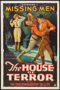 "The House of Terror (William Pizor, 1928). One Sheet (27"" X 41"") Episode 1 -- ""Missing Men."" Serial..."