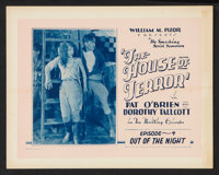 """The House of Terror (William Pizor, 1928). Lobby Card Set of 8 (11"""" X 14"""") Episode 4 -- """"Out of the Night..."""