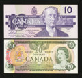 Canadian Currency: , BC-54c-i $20 1979. BC-57a $10 1989. ... (Total: 2 notes)