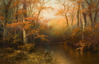 A. D. GREER (American, 1904-1998) Autumn Tranquility Oil on canvas 24 x 36 inches (61.0 x 91.4 cm
