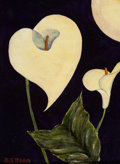 Western, EMIL JAMES BISTTRAM (American, 1895-1976). Calla Lilies. Oil on artist's board. 14 x 10 inches (35.6 x 25.4 cm). Signed ...