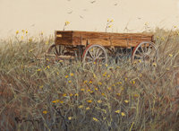 RAY SWANSON (American, 1937-2004) Horses Are Sold Now Oil on board 11 x 15 inches (27.9 x 38.1 cm