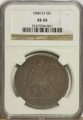 Seated Dollars: , 1846-O $1 XF45 NGC. NGC Census: (19/94). PCGS Population (33/91).Mintage: 59,000. Numismedia Wsl. Price for problem free N...
