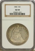 Seated Dollars: , 1846 $1 AU50 NGC. NGC Census: (27/236). PCGS Population (64/214).Mintage: 110,600. Numismedia Wsl. Price for problem free ...