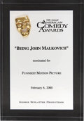 Movie/TV Memorabilia:Awards, Being John Malkovich 2000 American Comedy Award Nomination....