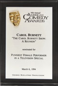 Movie/TV Memorabilia:Awards, Carol Burnett's 1994 American Comedy Award Nomination....