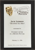 Movie/TV Memorabilia:Awards, Jack Lemmon's 1996 American Comedy Award Nomination....