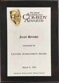 Movie/TV Memorabilia:Awards, Joan Rivers' 1994 American Comedy Award Nomination....