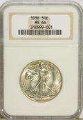 Walking Liberty Half Dollars: , 1938 50C MS66 NGC. NGC Census: (269/35). PCGS Population (511/56).Mintage: 4,118,152. Numismedia Wsl. Price for problem fr...