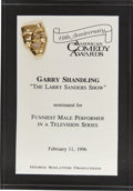 Movie/TV Memorabilia:Awards, Garry Shandling's 1996 American Comedy Award Nomination....