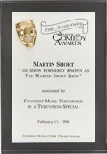 Movie/TV Memorabilia:Awards, Martin Short's 1996 American Comedy Award Nomination....