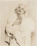 Movie/TV Memorabilia:Autographs and Signed Items, Jean Harlow Signed Photo Inscribed to William Wyler....