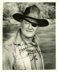 Movie/TV Memorabilia:Autographs and Signed Items, John Wayne Autographed Rooster Cogburn Photo....