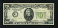 Error Notes:Inverted Reverses, Fr. 2054-G $20 1934 Inverted Reverse Light Green Seal FederalReserve Note. Extremely Fine-About Uncirculated....