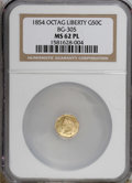 California Fractional Gold, 1854 50C Liberty Octagonal 50 Cents, BG-305, Low R.4, MS62Prooflike NGC. NGC Census: (6/6). PCGS Population (27/42). (#1...