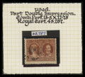 Stamps, 3¢ Deep Red Brown, Partial Double Impression (165var),...
