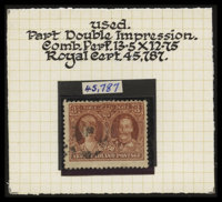 3¢ Deep Red Brown, Partial Double Impression (165var)