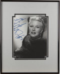 Movie/TV Memorabilia:Autographs and Signed Items, Ginger Rogers Signed Photograph....