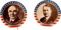 "Political:Pinback Buttons (1896-present), Warren G. Harding and James M. Cox: Near-Unique Pair of Colorful 1¼"" Portrait Buttons.... (Total: 2 Items)"