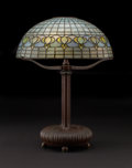 "Decorative Arts, American:Lamps & Lighting, TIFFANY STUDIOS. A ""Pomegranate"" Leaded Glass and Bronze Table Lamp, circa 1910. Based stamped: TIFFANY STUDIOS NEW YORK 2..."