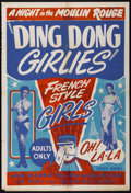 "Movie Posters:Sexploitation, Ding Dong Girlies, Night at the Moulin Rouge (Unknown, 1951). OneSheet (28"" X 41""). Sexploitation.. ..."