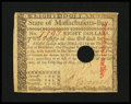Colonial Notes:Massachusetts, Massachusetts May 5, 1780 $8 Extremely Fine-About New....
