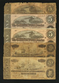 Confederate Notes:Group Lots, Mixed Lot of Circulated Confederate Notes. Five Examples.. ...(Total: 5 notes)