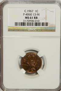 C.1967 1C General Motors Cent, P-4060, Control Code 13-M MS61 Red and Brown NGC