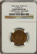 Civil War Merchants, 1863 Token New York NY, T. Brimelow, Druggist, Fuld-630K-2a TokenMS64 Red and Brown NGC....