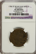 1786 COPPER New Jersey Copper, St Beam Narrow Shield--Planchet Flaw--NCS. VG8 Details. NGC Census: (3/40). PCGS Populati...