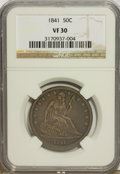 Seated Half Dollars: , 1841 50C VF30 NGC. NGC Census: (0/52). PCGS Population (1/60).Mintage: 310,000. Numismedia Wsl. Price for problem free NGC...