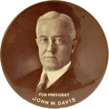 "Political:Pinback Buttons (1896-present), John W. Davis: Mate to the 4"" Celluloid ""Deeds not Words"" CoolidgeVariety...."