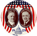 """Political:Pinback Buttons (1896-present), Hoover & Curtis: Spectacular, Colorful 4"""" Litho Design inVirtually Mint Condition...."""