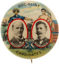 Political:Pinback Buttons (1896-present), Debs & Hanford: Very Choice Example of this Colorful 1904 Jugate....