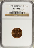 """Lincoln Cents, 1999 1C Close """"AM"""" MS67 Red NGC. NGC Census: (156/26). PCGSPopulation (244/246). Numismedia Wsl. Price for problem free N..."""