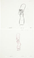 animation art:Production Drawing, The Simpsons Marge and Lisa Animation Production DrawingOriginal Art Group (Fox, undated).... (Total: 4 Items)