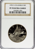 Modern Issues: , 1992-S 50C Columbus Half Dollar PR70 Ultra Cameo NGC. NGC Census:(0). PCGS Population (34). Mintage: 390,255. Numismedia W...