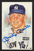 Autographs:Post Cards, Mickey Mantle Signed Perez-Steele Postcard....