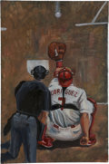 Baseball Collectibles:Others, Ivan Rodriguez Original Oil Painting....