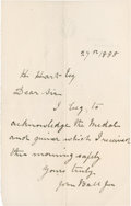 Golf Collectibles:Autographs, 1888 John Ball, Jr. Handwritten Signed Letter....