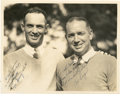 Golf Collectibles:Autographs, 1934 Leo Diegel & Denny Shute Signed Photograph....