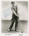 Golf Collectibles:Autographs, Circa 1940 Ralph Guldahl Signed Photograph....