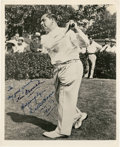 Golf Collectibles:Autographs, 1961 Walter Hagen Signed Photograph....