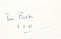 Golf Collectibles:Autographs, 1936 Pam Barton Signed Index Card....