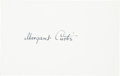 Golf Collectibles:Autographs, 1960's Margaret Curtis Signed Index Card....