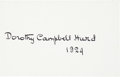 Golf Collectibles:Autographs, 1924 Dorothy Campbell Hurd Signed Index Card....
