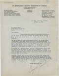 Golf Collectibles:Autographs, 1939 George Jacobus Signed Letter to Walter Hagen....